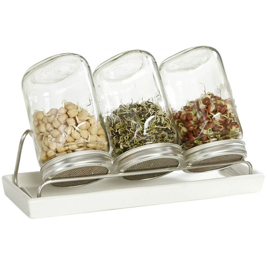 System III Eschenfelder Sprouting Set 3-Jar 35oz (1000ml) + Rack + ceramic drip tray white
