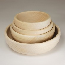 Set with four Wooden Bowls 6.29, 7.08, 7.87, 9.84Inches (16, 18, 20,25cm)